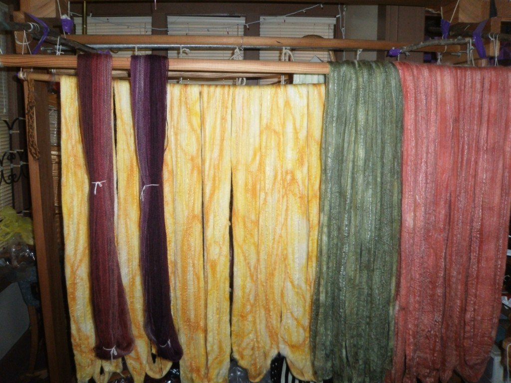Drying Bam Huey Spinning FIber